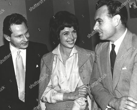 Actress Marla Landi (models Under The Name Of Marla Scarafia) With Bbc's John Langham (l) And Actor Conrad Phillips. Box 0573 010615 00257a.jpg.