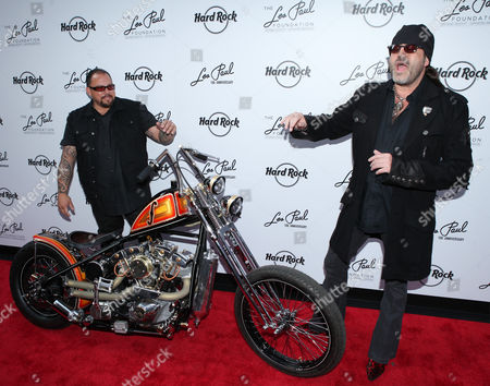 Shannon Aikau and Danny Koker with the 100th Anniversary Les Paul custom motorcycle by Count 77