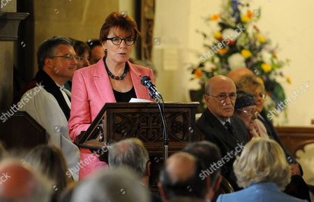 Celia Sandys, granddaughter of Sir Winston Churchill, gives a reading at St Martin's Church, Bladon, before the unveiling of a stain glassed window to commemorate the 50th Anniversary of Sir Winston Churchill's death