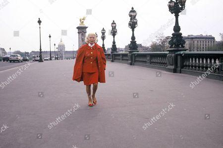 Madame Carven walking on Alexander Bridge, Paris, France