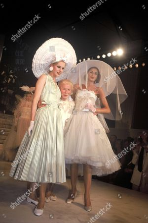 """Madame Carven with her models at Soiree Madame Carven """"50 years of fashion"""", Paris, France"""