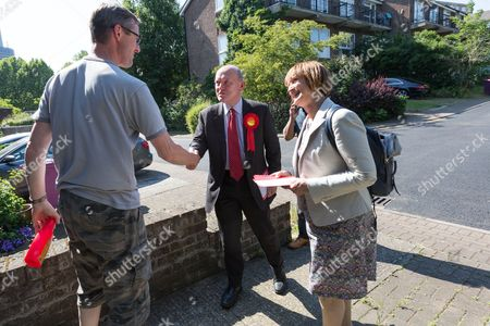 Labour Tower Hamlets Mayor candidate, John Biggs with Tessa Jowell canvassing in Tower Hamlets, east London