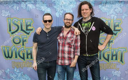 Stock Photo of (L-R) Tim Wheeler, Rick McMurray and Mark Hamilton of Ash at the Isle of Wight Festival 2015