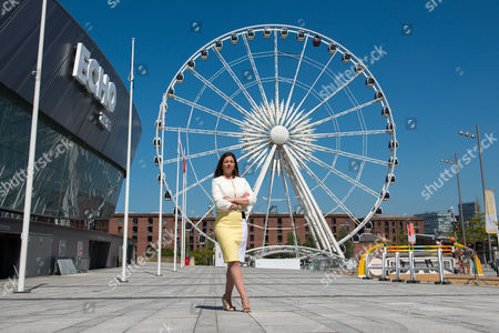 Stock Image of Nina Barbour, show president, poses in front of the Echo Arena, Liverpool to launch the inaugural Liverpool International Horse Show to take place 1-3 January 2016
