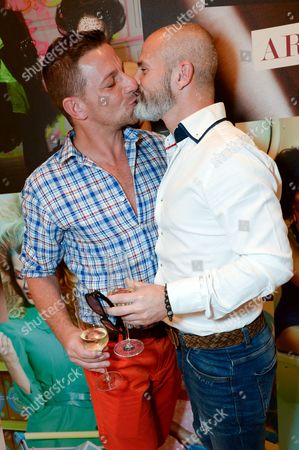 Stock Photo of Julian Bennett and boyfriend