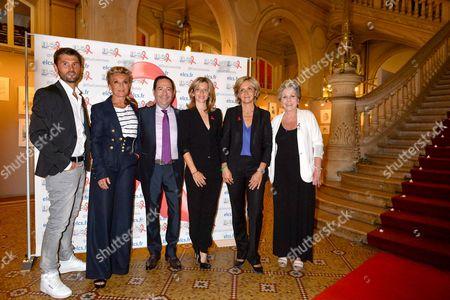 Christophe Beaugrand, Sheila Honorary President of the association Elus Locaux Contre le Sida, Jean Luc Romero, Wendy Bouchard, Valerie Pecresse, Jean Luc Romero and Francoise Laborde