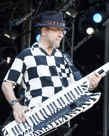 Stock Image of Manfred Mann´s Earth Band performing at Sweden Rock Festival 2015. Keyboard player Manfred Mann