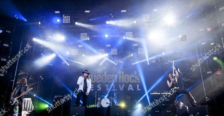 Dokken performing at Sweden Rock Festival 2015. Vocalist Don Dokken, bassist Mark Boals, drummer Mick Brown and guitarist Jon Levin
