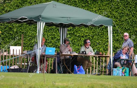 Stock Photo of Commentator John Lees (centre) reporting for BBC Radio Sussex during the LV County Championship Div 1 match between Sussex County Cricket Club and Durham County Cricket Club at the Arundel Castle Cricket Ground