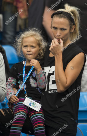 Bec Hewitt, wife of Lleyton Hewitt of Australia and daughter Mia, watching Lleyton in action  at the Aegon Championships