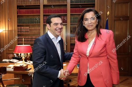 Stock Image of L-R Prime Minister Alexis Tsipras with New Democracy leader Dora Bakoyianni
