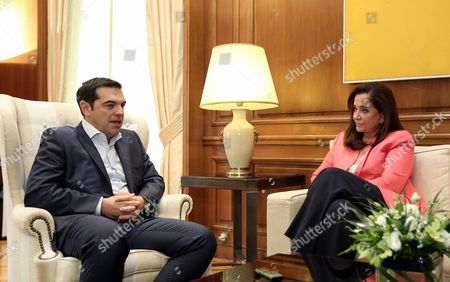Stock Picture of L-R Prime Minister Alexis Tsipras with New Democracy leader Dora Bakoyianni