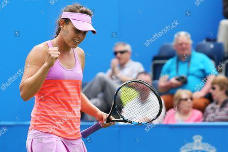 Michelle Larcher De Brito celebrates winning the match against Ana Ivanovic.