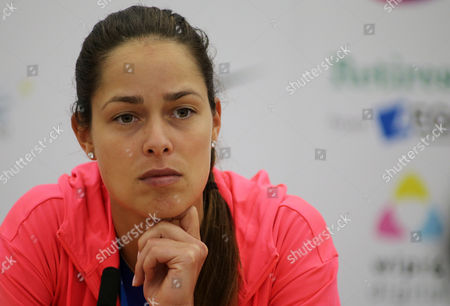 Stock Picture of Ana Ivanovic during her post match press conference after losing her match to Michelle Larcher De Brito.