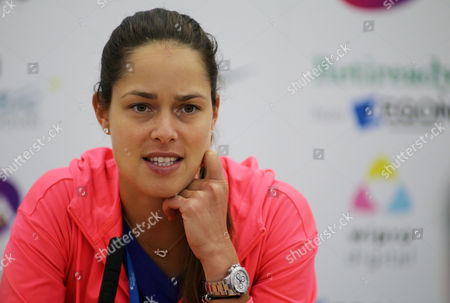 Ana Ivanovic during her post match press conference after losing her match to Michelle Larcher De Brito.