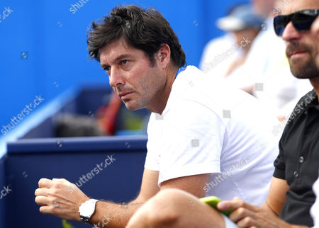 Stock Image of Sebastien Grosjean of France watches the action at the AEGON Championship, Queen's Club, 2015
