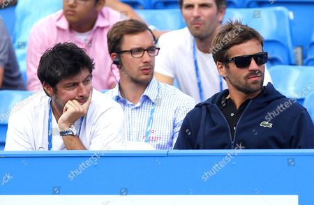 Sebastien Grosjean and Arnaud Clement watch the tennis at the AEGON Championship, Queen's Club, 2015
