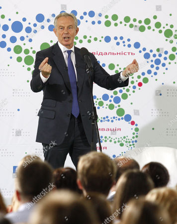 Tony Blair gives a speech to the participants of the annual Youth Forum, organized by the Victor Pinchuk Foundation