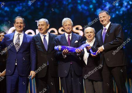 Stock Photo of Prime Minister Benjamin Netanyahu, Genesis co-founder Stan Polovets, Michael Douglas, Jewish Agency chairman Natan Sharansky