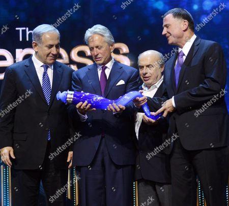 Stock Image of Prime Minister Benjamin Netanyahu, Genesis co-founder Stan Polovets, Michael Douglas, Jewish Agency chairman Natan Sharansky