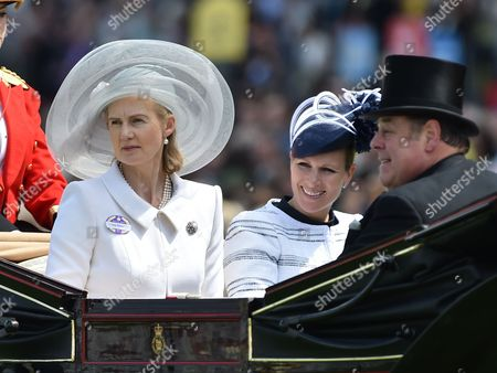 Lady Mary Soames, Zara Tindall and Lord Soames in the Royal Procession as it arrives for Day 4 of Royal Ascot