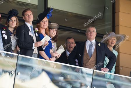 Princess Beatrice, Dave Clark, Sarah Ferguson Duchess of York, Princess Eugenie, Prince Andrew and Catrina Skepper
