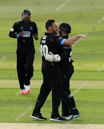 Stock Image of Sussex's Michael Yardy celebrates the wicket of Hampshire's James Vince