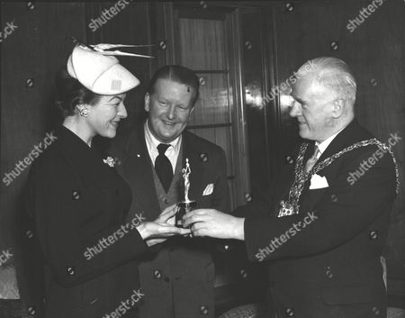 Actress Pamela Ann Davy Being Presented With An Oscar For Acting By The Mayor Of Hornsey London Alderman Maurice Burns At Hornsey Town Hall. Box 0578 080615 00080a.jpg.