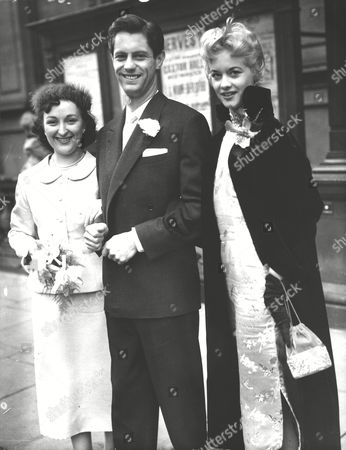 Ken Haward Actor With His Bride Actress Barbara Ashcroft After Their Wedding At Caxton Hall. Matron Of Honour Model Pam Barker (r). Box 0586 150615 00487a.jpg.
