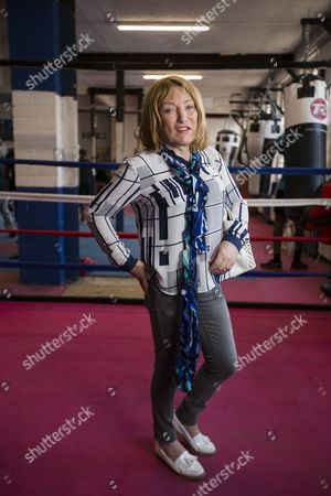Stock Image of Boxing promoter Kellie Maloney, formerly Frank, Maloney, pays a visit to a boxing gym in Birmingham. It's the first time she has stepped inside a gym since a gender reassignment operation.
