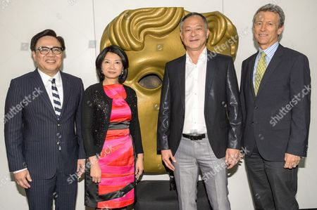 Dr Wilfred Wong Ying-Wai, SBS, JP, Chairman of the Asian Film Awards; Ms Erica Ng the Director General of the Hong Kong Economic and Trade Office, London;  Johnnie To ; Duncan Kenworthy, Vice-President of BAFTA