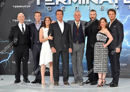 JK Simmons, David Ellison, Dana Goldberg, Arnold Schwarzenegger, Alan Taylor, Jai Courtney, Emilia Clarke and Jason Clarke