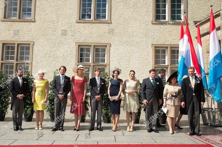 Crown Hereditary Grand Duke Guillaume of Luxembourg, Crown Grand Duchess Stephanie of Luxembourg, Prince Felix, Princess Claire, Prince Louis of Luxembourg, Princess Tessy of Luxembourg, Princess Alexandra, Prince Sebastien of Luxembourg, Grand Duke Henri of Luxembourg and Grand Duchess Maria Teresa of Luxembourg