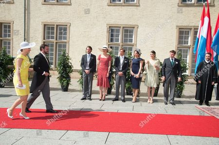 Crown Hereditary Grand Duke Guillaume of Luxembourg, Crown Grand Duchess Stephanie of Luxembourg, Prince Felix, Princess Claire, Prince Louis of Luxembourg, Princess Tessy of Luxembourg, Princess Alexandra and Prince Sebastien of Luxembourg