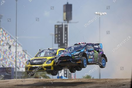 Ken Block and Tanner Foust take the jump at Red Bull Global Rallycross