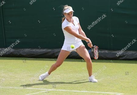 Great Britain's Katie Swan in Action against Tamira Paszek from Austria