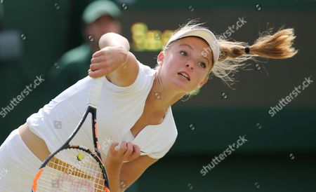 Great Britain's Katie Swan loses against Tamira Paszek from Austria in straight sets