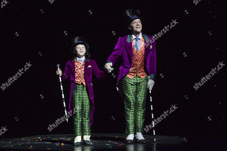 Zachary Loonie (Charlie Bucket) and Jonathan Slinger (Willy Wonka) during the curtain call