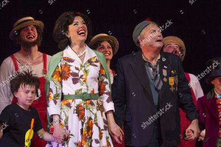 Josefina Gabrielle (Mrs Teavee) and Barry James (Grandpa Joe) during the curtain call