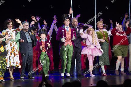Josefina Gabrielle (Mrs Teavee), Barry James (Grandpa Joe), Zachary Loonie (Charlie Bucket), Jonathan Slinger (Willy Wonka) and members of the cast during the curtain call