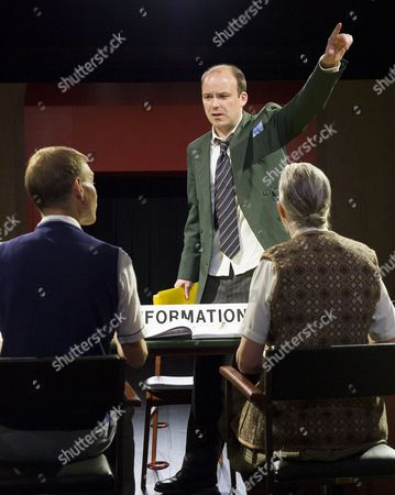 Stock Picture of Richard Cant as Assistant, Rory Kinnear as Josef K, Sarah Crowden as Information Officer