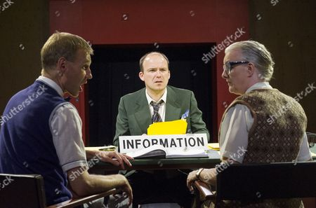 Stock Image of Richard Cant as Assistant, Rory Kinnear as Josef K, Sarah Crowden as Information Officer