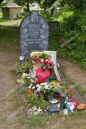 New marble headstone at the grave of Robin Gibb