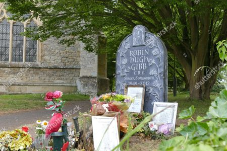 Editorial image of New headstone erected at grave of Robin Gibb, Thame, Oxfordshire, Britain - 25 Jun 2015