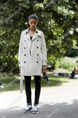 Model Off Duty, Aya Jones, after Burberry Menswear, Kensington Palace Gardens. London Street Style Fashion.