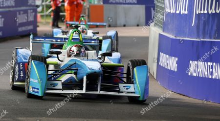 Jarno Trulli racing round the track during round 10 of the Visa London ePrix Championship at Battersea Park, London