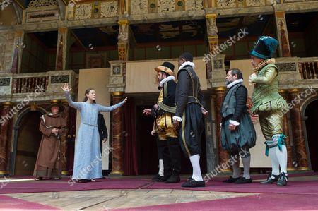 James Lailey (Friar Peter), Mariah Gale (Isabella), Dominic Rowa