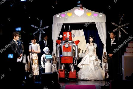 Editorial image of 'Robo-kon' marriage ceremony, First robot wedding, Tokyo, Japan - 27 Jun 2015