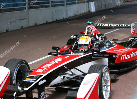 Karun Chandhok exiting the pit lane during the FIA Formula E Visa London ePrix at Battersea Park, London