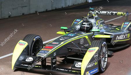 Oliver Turvey exiting the pit lane the FIA Formula E Visa London ePrix at Battersea Park, London